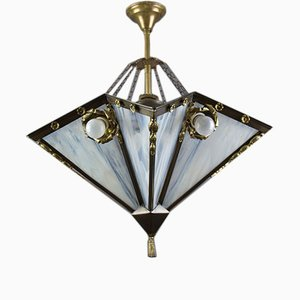 Art Deco French Brass & White Glass 9-Light Chandelier, 1920s
