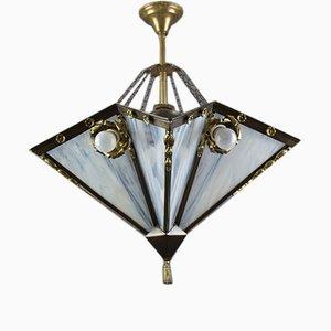 Lampadario a nove luci Art Déco in ottone e vetro bianco, anni '20