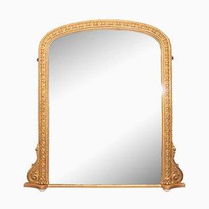 Espejo antiguo de madera dorada, década de 1880