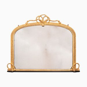Espejo de repisa inglés antiguo de madera dorada, década de 1860