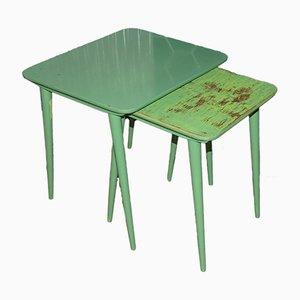 Tables Gigognes Vintage Vert Menthe, Set de 2