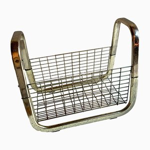 Gold Metal Magazine Rack, 1970s