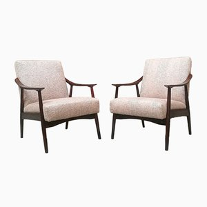 Beech and Coloured Fabric Armchairs, 1960s, Set of 2