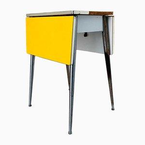 Mesa de centro extensible de madera en amarillo, años 60