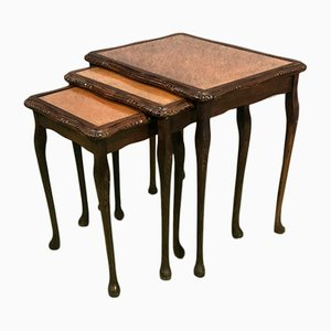 Mahogany, Leather, and Glass Nesting Tables, 1950s
