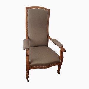 Vintage Solid Wood & Linen Voltaire Armchair