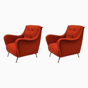 Orangenfarbene Mid-Century Armlehnstühle, 1950er, 2er Set