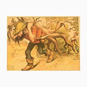 Litografía The Brave Tailor antigua a color de Louis Moe, años 10