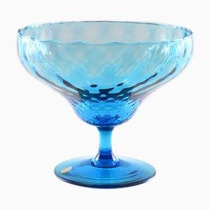 Cuenco italiano Mid-Century de vidrio azul óptico de Empoli, años 60