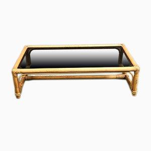Tavolino da caffè in bambù e vetro, anni '60