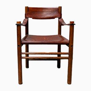 Armlehnstuhl aus Holz & Leder von Ibisco, 1960er