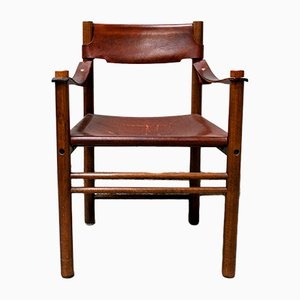 Wood and Leather Armchair from Ibisco, 1960s