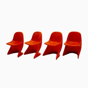 Vintage Space Age Orange Children's Chairs by Alexander Begge for Casala, 1970s, Set of 4