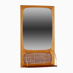 Espejo danés de teca y mimbre, años 60