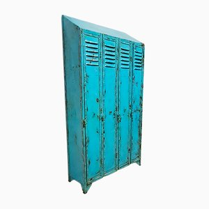 Vintage Blue Locker Cabinet, 1930s