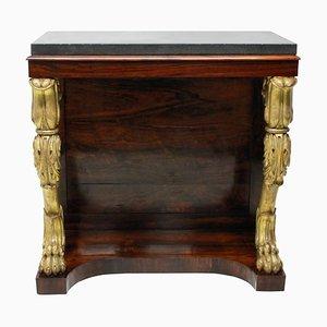 Consola antigua Regency de palisandro y madera dorada, década de 1810