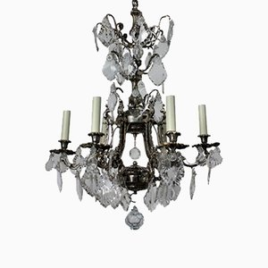 French Silver & Cut Glass Cage Chandelier, 1880s