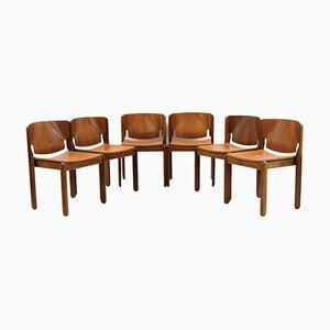 Modell 122 Esszimmerstühle von Vico Magistretti für Cassina, 1960er, 6er Set
