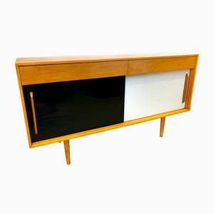 Black & White Vitrolite Glass Hilleplan Sideboard by Robin & Lucienne Day for Hille, 1950s