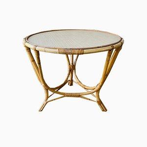 Tavolino da caffè vintage in bambù e vimini, Francia, anni '60