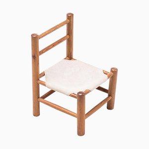 Chaise pour Enfant en Pin et Toile, 1950s