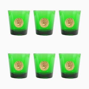 Italienische grüne Mid-Century Gläser von Byrrh, 6er Set
