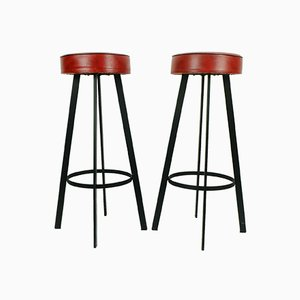 Red Iron and Faux Leather Stools, 1960s, Set of 2