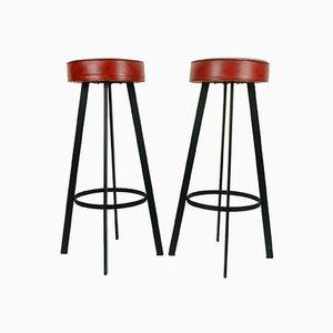 Sgabelli in ferro rosso e similpelle, anni '60, set di 2
