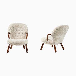 Mid-Century Sheepskin Clam Chairs by Philip Arctander for Vik & Blindheim, 1950s, Set of 2