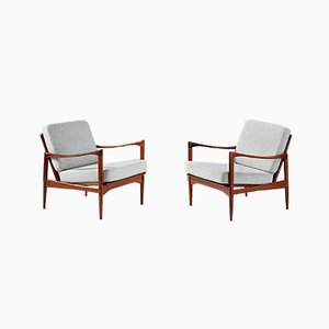 Candidate Afromosia Teak and Grey Upholstery Lounge Chairs by Ib Kofod Larsen for OPE, 1960s