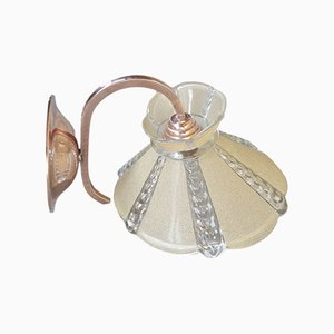 Art Deco Style Copper & Glass Sconce, 1940s