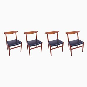 Teak W2 Dining Chairs by Hans J. Wegner for C.M. Madsen, 1950s, Set of 4