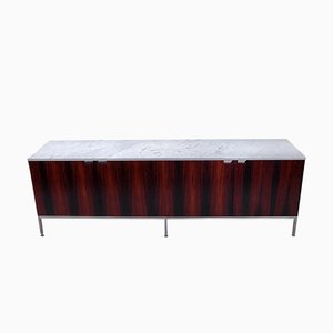 Rosewood and Marble Credenza by Florence Knoll Bassett, 1970s