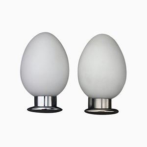 Opaline Glass & Chrome Egg Sconces, 1950s, Set of 2