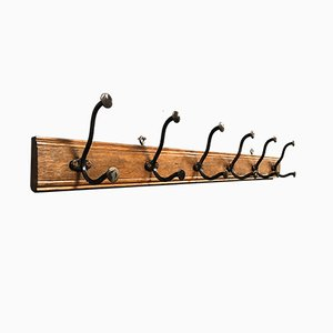 Vintage French Enameled Cast Iron & Oak Coat Rack, 1930s