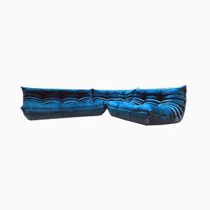Togo Wohnzimmer-Set in blauem Samt von Michel Ducaroy für Ligne Roset, 1970er