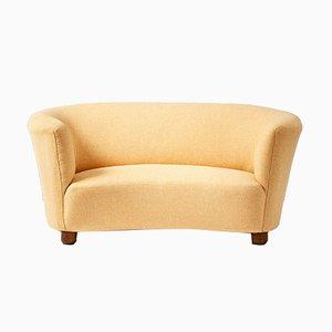 Curved Danish Love-Seat Sofa, 1940s