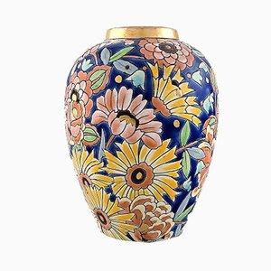 Große handbemalte belgische Vintage Keramikvase im Art Déco-Stil von Boch Frères