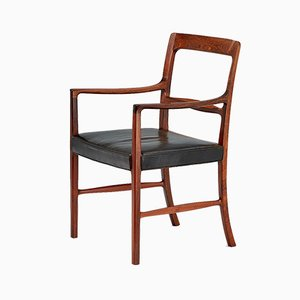 Danish Leather and Rosewood Armchair by Ole Wanscher for A.J. Iversen, 1954