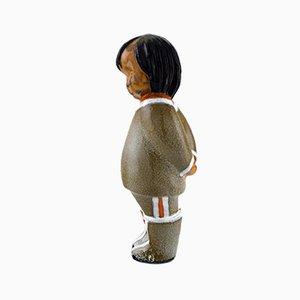 Figura de niña de Groenlandia vintage de cerámica de Vicke Lindstrand para Upsala Ekeby