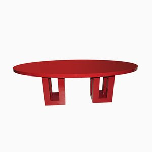 Large Red Lacquered Dining Table by Francois Champsaur, 1990s
