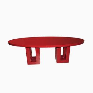 Mesa de comedor grande lacada en rojo de Francois Champsaur, años 90