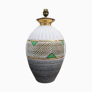 Tischlampe aus Sandstein & Messing im Art Déco-Stil von Lucien Brisdoux, 1940er