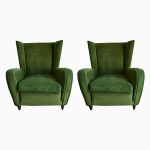 Club chair verdi di Paolo Buffa, anni '50, set di 2