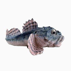 Antike Jugendstil Fischskulptur von Royal Copenhagen