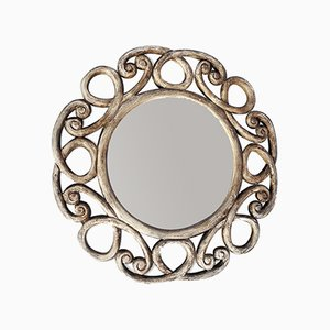 Vintage Rustic Wooden Mirror, 1950s