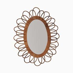 Oval Vintage Rattan Mirror, 1960s