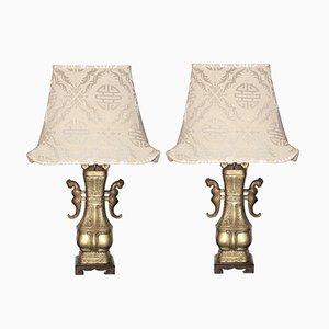 Chinesische Tischlampen aus Bronze in Urnen-Optik mit Pagoda Schirmen aus Seide, 1960er, 2er Set