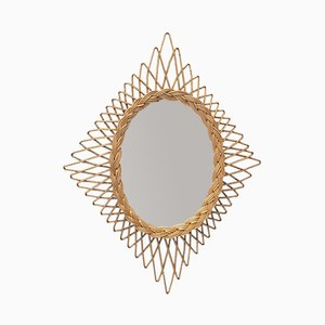 Specchio vintage in vimini, anni '60