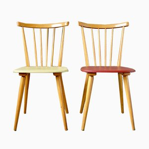 Vintage Yellow & Red Wooden Dining Chairs, 1960s, Set of 2